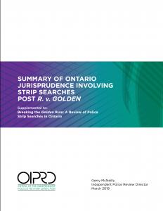 Summary of Ontario Jurisprudence Involving Strip Searches Cover Thumbnail English